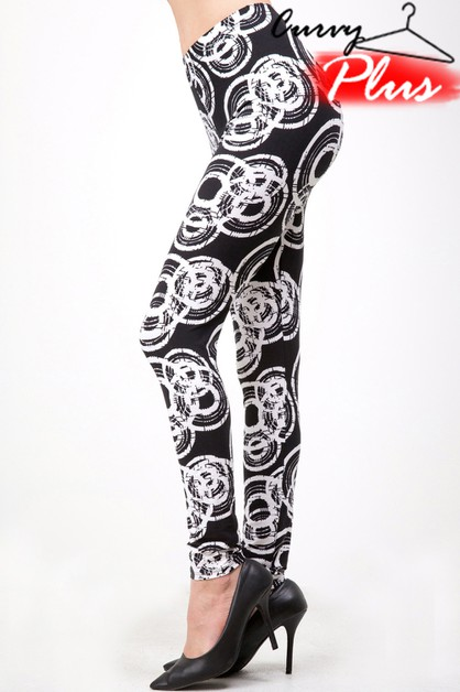 PLUS SIZE ABSTRACT CIRCLE PRINT LEGG - orangeshine.com