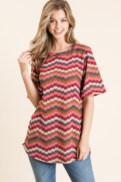 CHEVRON PRINT SHORT SLEEVE KNIT TOP - orangeshine.com