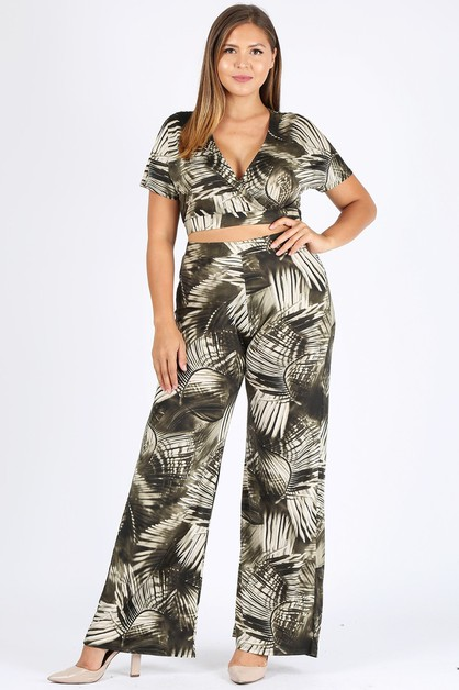 Plus Curvy Crop Top WideLeg Pant Set - orangeshine.com