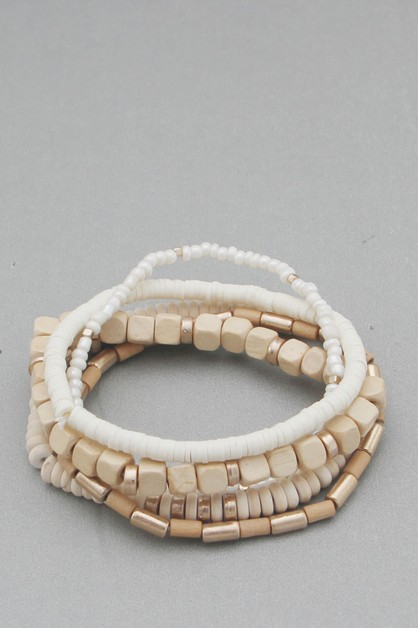 MULTI LINE WOODEN STRETCH BRACELET - orangeshine.com