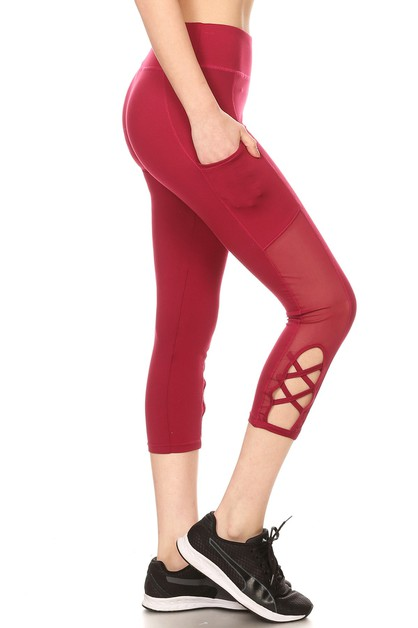 Capris Mesh Leggings Yoga Pants - orangeshine.com
