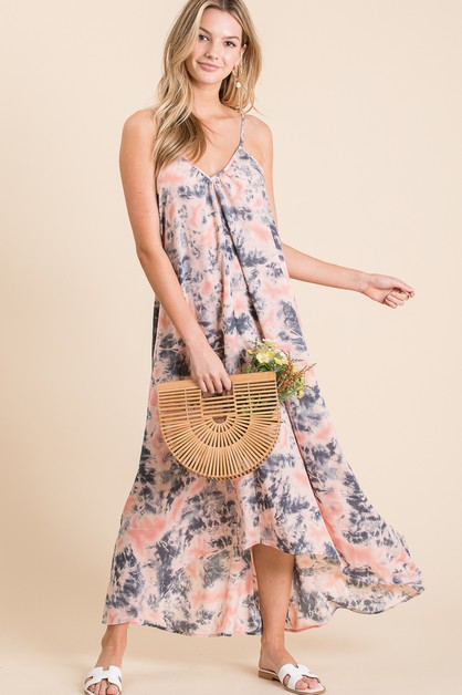 MAXI OPEN BACK TIE DYE DRESS - orangeshine.com