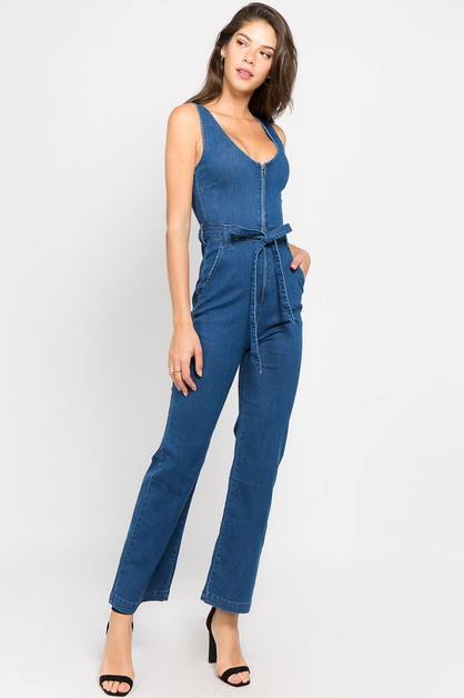 FRONT ZIP-UP DENIM JUMPSUITS WITH WA - orangeshine.com