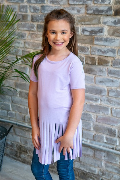 KIDS SHORT SLEEVE TOP WITH FRINGES - orangeshine.com