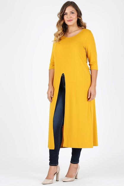 Plus Size Slit front  Maxi Top - orangeshine.com