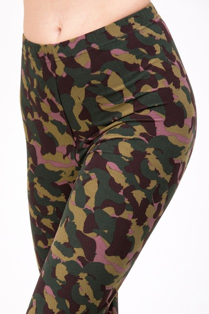 CAMOUFLAGE PRINT FULL LEGGINGS  - orangeshine.com