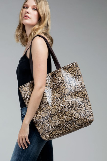Faux Snake Print Leather Shoulder Ba - orangeshine.com