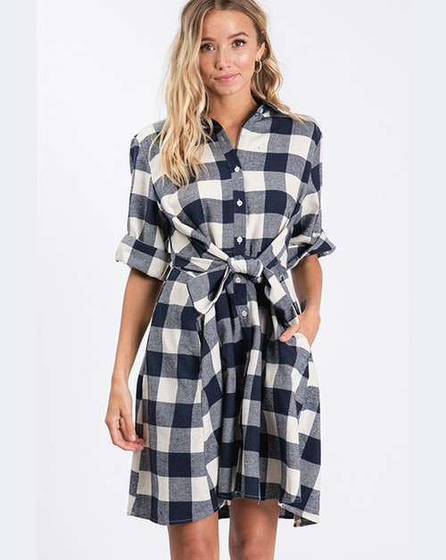 Plaid Tie Waist 3/4 Sleeve Dress - orangeshine.com