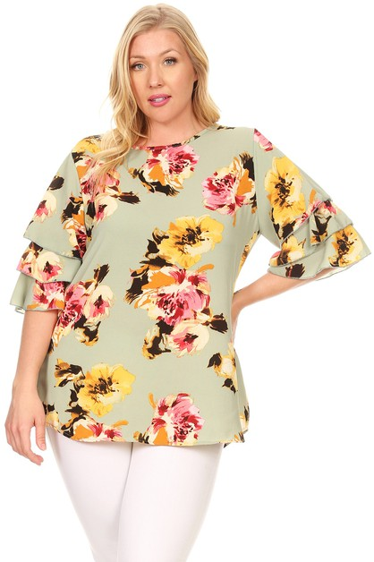 Plus Size Tiered Sleeve Floral Top - orangeshine.com