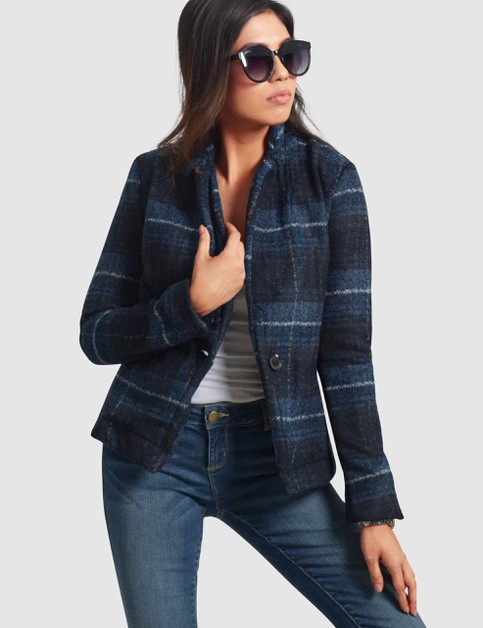 Womens Single Breasted Plaid Blazer - orangeshine.com