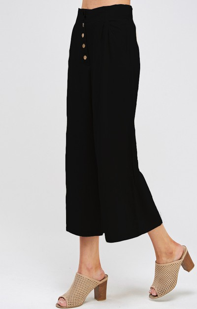 SOLID PALAZZO CROPPED PANTS Wide Leg - orangeshine.com