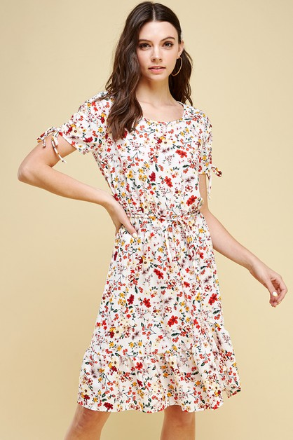 Floral Printed Dress with Tie Knot - orangeshine.com
