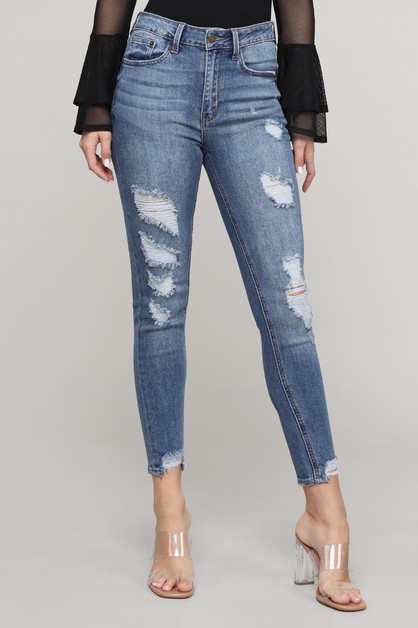 HIGH RISE SKINNY W/ DESTROYED JEANS - orangeshine.com