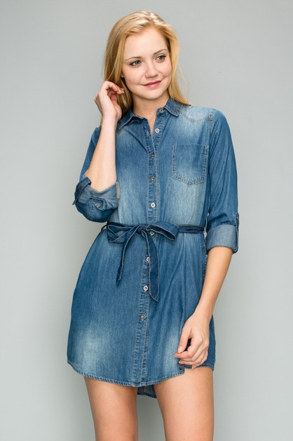 ROLLED SLEEVE BUTTON UP DENIM DRESS - orangeshine.com