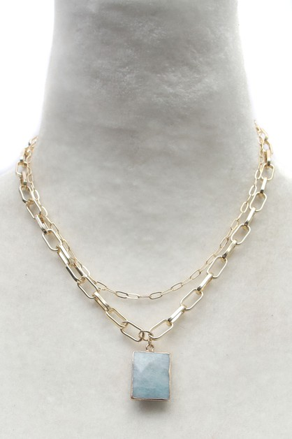LINK CHAIN NATURAL STONE  NECKLACE  - orangeshine.com
