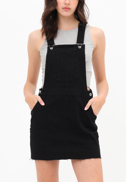 Raw Edge Hem Denim Overall dress - orangeshine.com