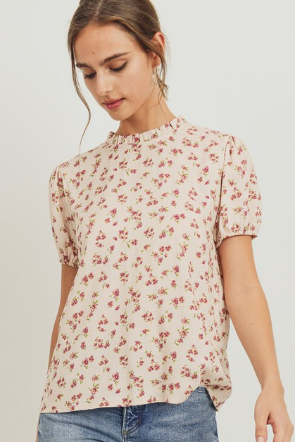 Floral Printed Woven Neck Shirring  - orangeshine.com