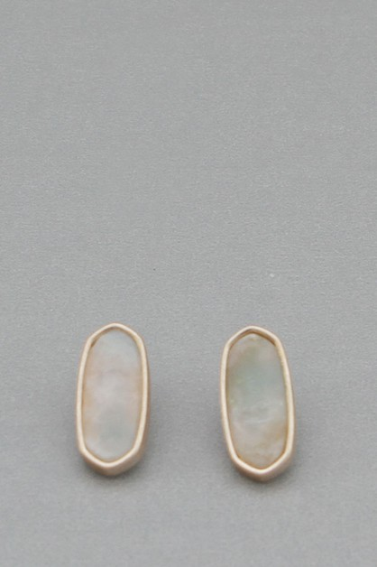 NATURAL STONE OVAL  POST EARRING - orangeshine.com