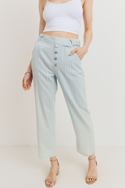 Striped Buttoned Waist Belt Pants - orangeshine.com
