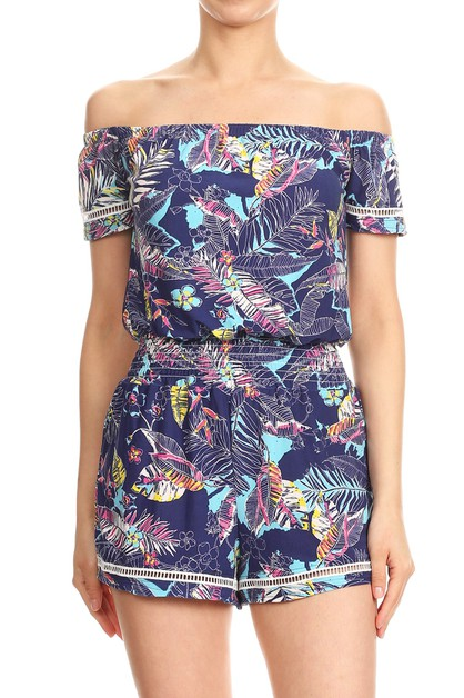 Navy Floral Rompers Off Shoulder - orangeshine.com