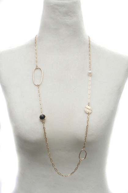 METAL CHAIN WITH PEARL  NECKLACE - orangeshine.com