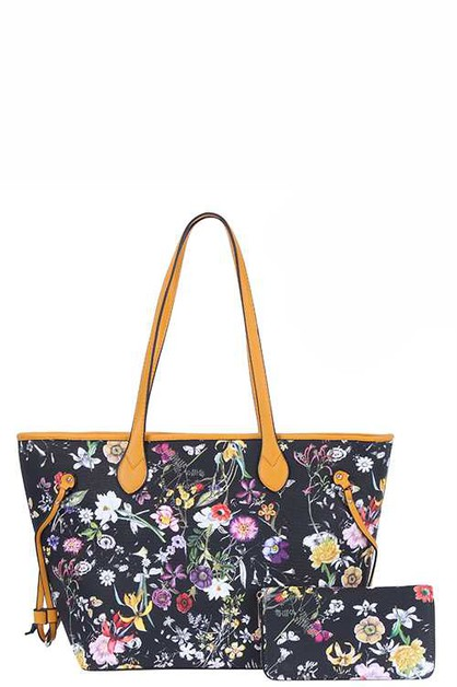 DESIGNER 2 IN 1 FLORAL TOTE BAG SET  - orangeshine.com