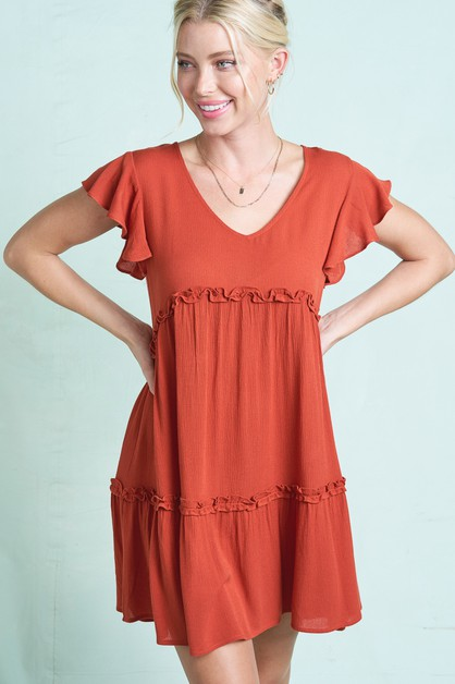RUFFLED SHORTS SLEEVE DRESS  - orangeshine.com