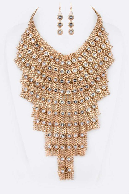 Crystal Disk Statement Necklace Set - orangeshine.com