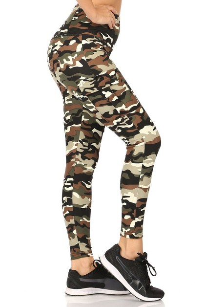 Army Camo Cargo Pockets Leggings  - orangeshine.com