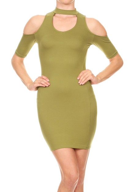 KNIT COLD SHOULDER BODYCON DRESS - orangeshine.com
