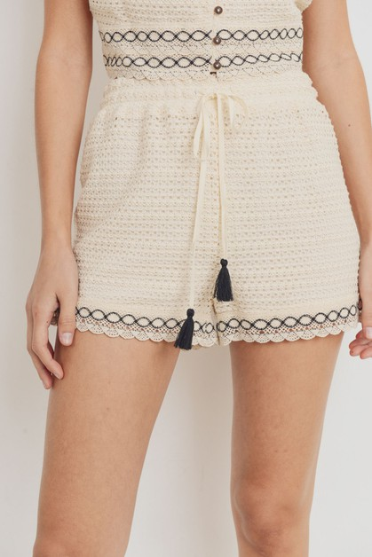 Knit Laced Tessel String Shorts - orangeshine.com
