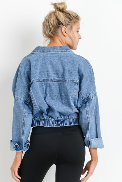 Raw Ribbed Crop Denim Jacket - orangeshine.com
