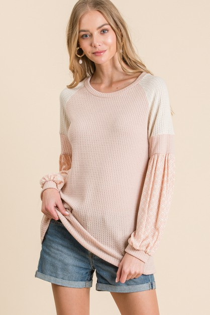 LONG PUFF SLEEVE WAFFLE KNIT TOP - orangeshine.com