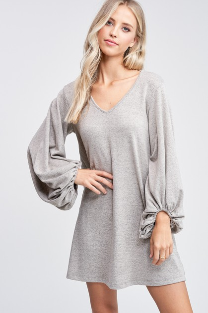 Puff Sleeve Solid Knit Dress  - orangeshine.com