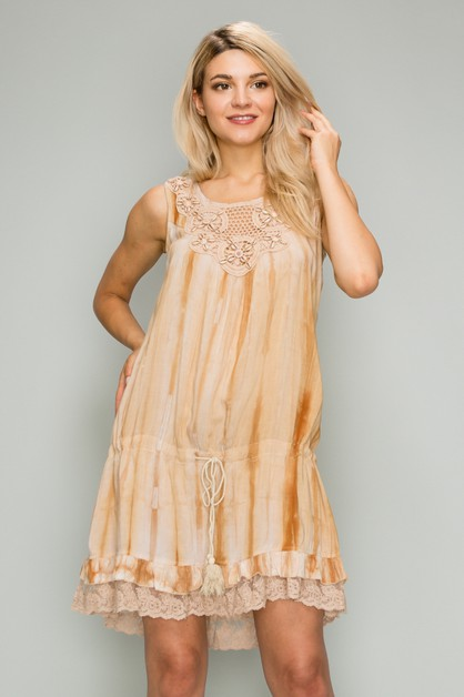Woven Printed Short Dress - orangeshine.com