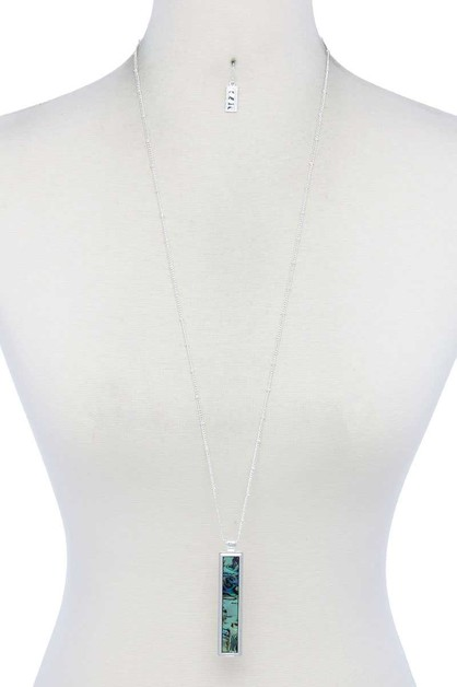 ABALONE RECTANGULAR SHAPE NECKLACE - orangeshine.com