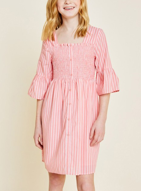 Striped Smocked Bell Sleeve Dress  - orangeshine.com
