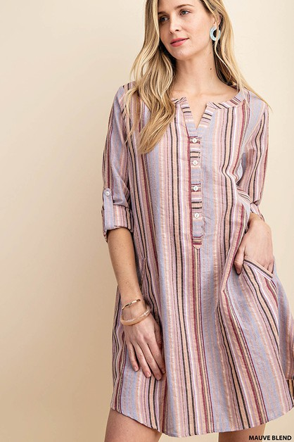 MULTI STRIPE  SHIRTS DRESS - orangeshine.com