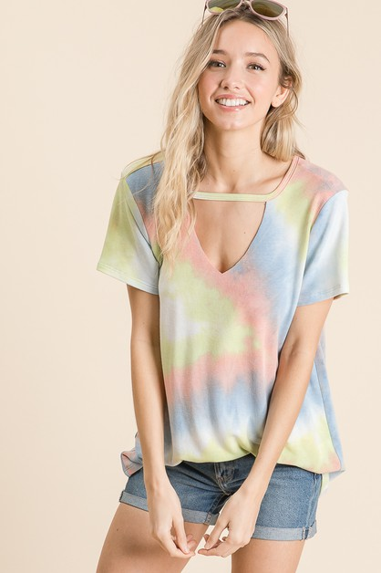 TIE DYE CHOKER NECK TOP - orangeshine.com