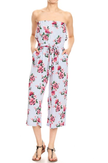 Floral Stripes Wide Leg Jumpsuits  - orangeshine.com