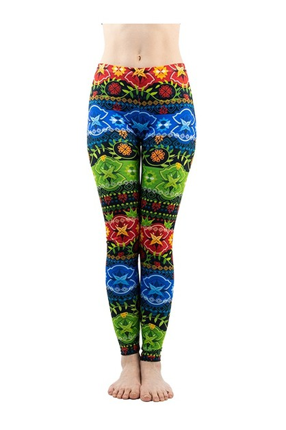 Colorful Bow Digital Print Leggings - orangeshine.com
