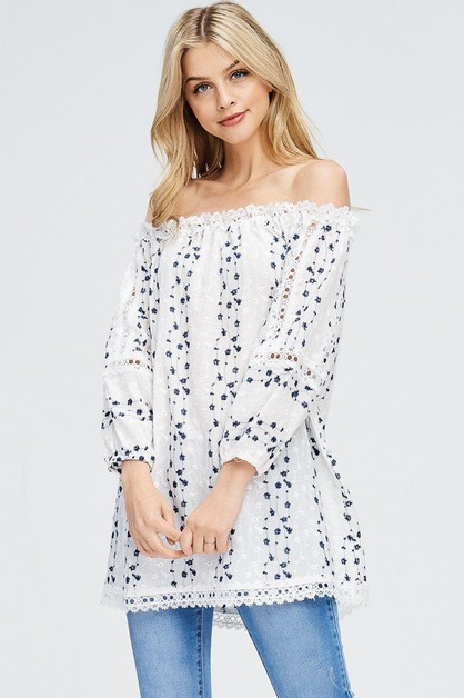 Floral Embroidered Off Shoulder Tuni - orangeshine.com