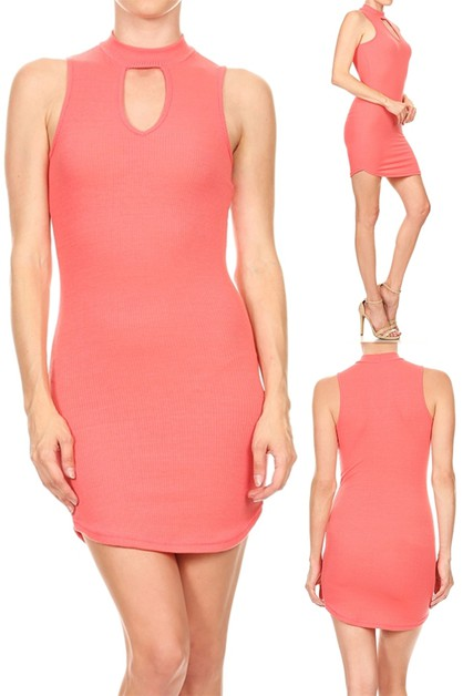 KNIT MOCK NECK KEYHOLE MINI DRESS  - orangeshine.com