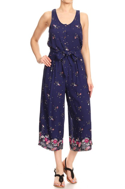 Navy Floral Jumpsuits Sets Palazzo - orangeshine.com