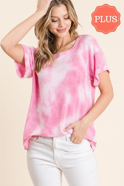 TIE-DYE BASIC SHORT SLEEVE TOP - orangeshine.com