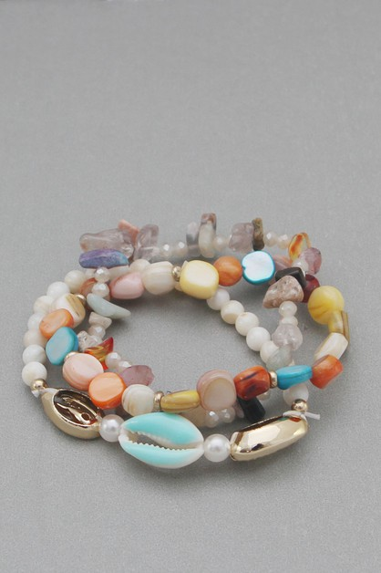 MULTI LINE SHELL STRETCH BRACELET - orangeshine.com