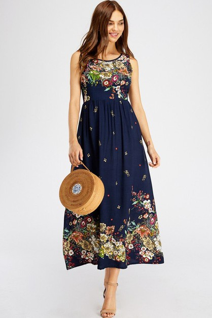 Floral Print Fit and Flair Long Dres - orangeshine.com