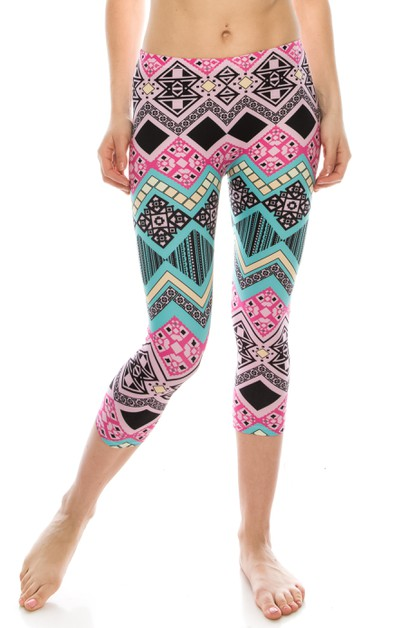 Sublimated Cropped Capri Leggings - orangeshine.com