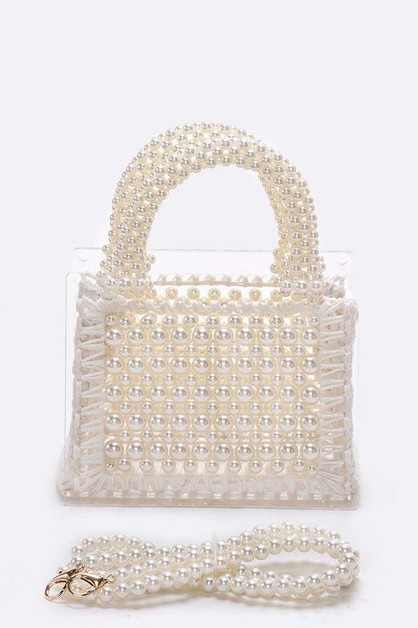 Pearls Beaded Convertible clutch - orangeshine.com