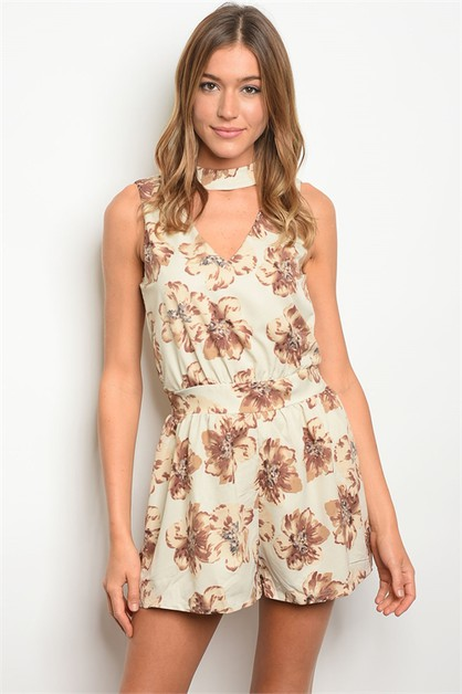 Sleeveless choker neck floral print  - orangeshine.com